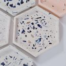 Crushed Mussel Shell And Resin Hexagon Coaster Tray