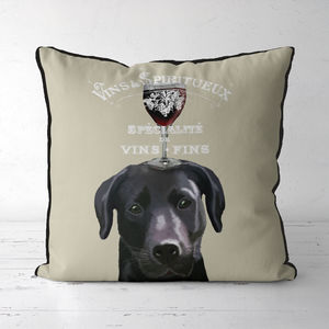 Black Labrador Dog Au Vin Cushion - bedroom