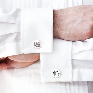 Personalised Round Hand And Foot Print Cufflinks