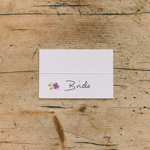 Floral Wedding Place Cards In Any Colour