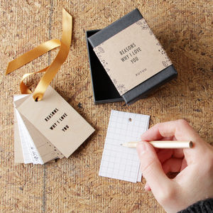 'Reasons Why I/We Love You' Tiny Tag Book - 1st anniversary: paper