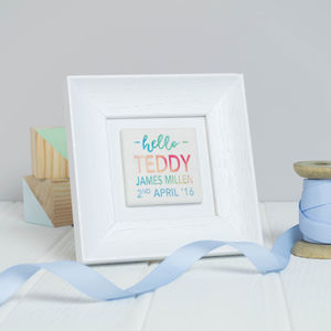 Personalised 'Hello' Birth Details Framed Clay Tile Art