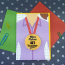 Personalised Teacher Card With Badge