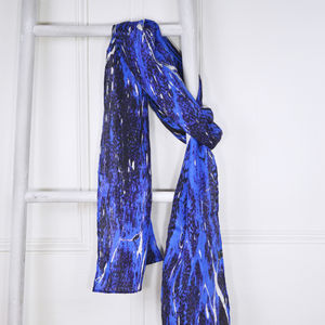 Azurite Blue Marble Print Silk Skinny Scarf - gifts for friends