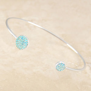 Adjustable Turquoise Birthstone Silver Bangle - bracelets & bangles