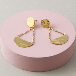 Disc And Crescent Statement Drop Earrings - earrings