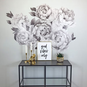 Monochrome Peony Fabric Wall Stickers