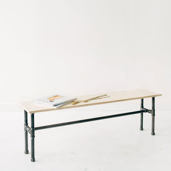 Black Iron And Birch Plywood Bench And Display Table
