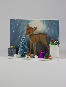 Winter Forest Bambi Personalised Christmas Card - cards