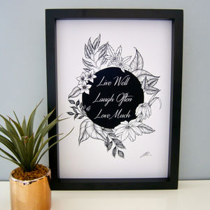 Live Well Illustration Print - drawings & illustrations