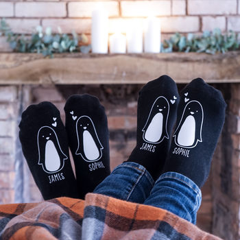 Personalised Penguin Couple Socks