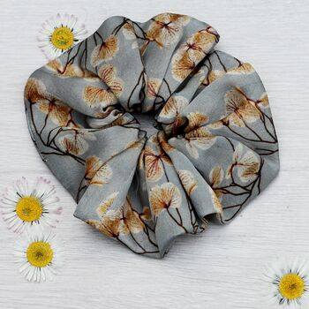 100% Silk Scrunchie Skeletal Leaves