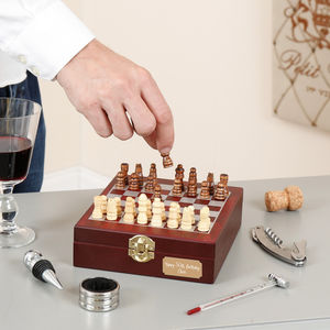 Personalised Chess Box With Wine Accessories - corkscrews & bottle openers