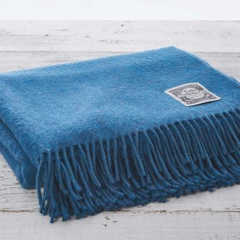 Cashmere Mix Luxury Peacock Blue Throw