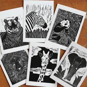 A Pack Of Six Lino Cut Cards