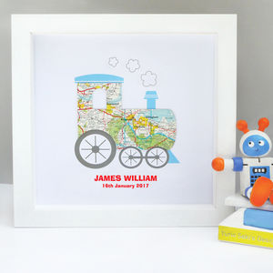 Personalised Baby Boy Map Train Artwork