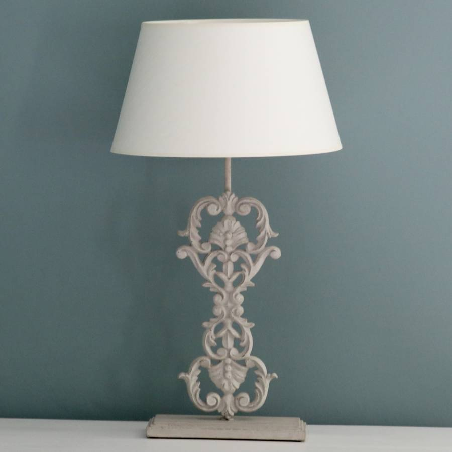 Ornate Iron And Wooden Table Lamp By Victoria Jill