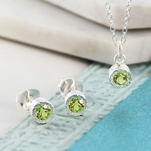Silver Jewellery Green Peridot Birthstone Set - earrings
