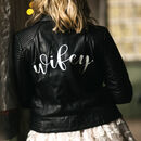 Personalised Calligraphy Bridal Leather Biker Jacket
