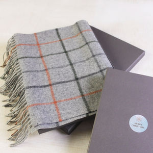 Mens Wool Grey Check Scarf - view all new