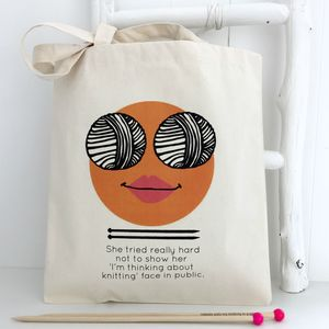 'Think Knitting' Knitting Face Bag - whats new