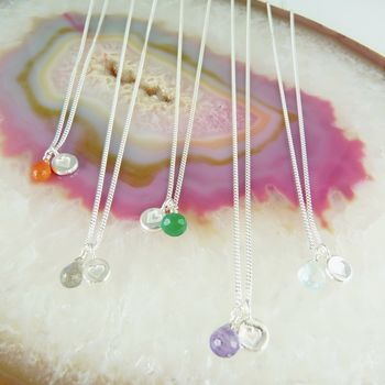Delicate Heart Silver And Gemstone Necklace
