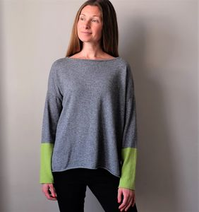 Grey Cashmere Jumper With Coloured Sleeves - women's fashion