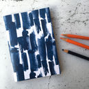 Paloma Notebook, Blue Brushstroke Pattern