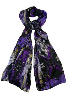 Scarf Short Harry Clarke Inspired Madeline Print in Purple