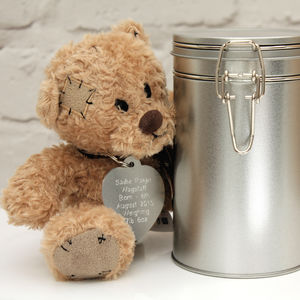 Personalised Teddy In A Tin - soft toys & dolls