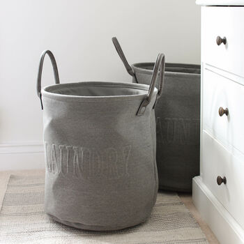 Grey Canvas Laundry Bag