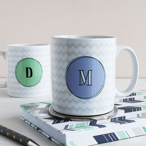 Set Of Two Personalised Monogram Mugs, Zig Zag - mugs