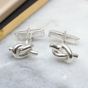 Solid Sterling Silver Love Knot Cufflinks - cufflinks