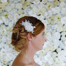 Small Ivory And Silver Lace Hair Comb 'Morgan'