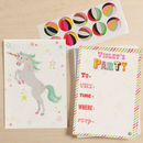 12 Childs Party Invites Unicorn Design