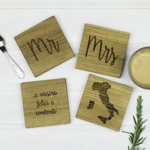 Personalised Set Of Four Wedding Coasters - what's new