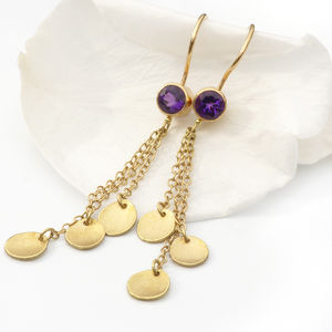 Amethyst Earrings With 18ct Gold Petals - earrings