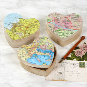 Personalised Map Heart Shape Valentine's Jewellery Box - home