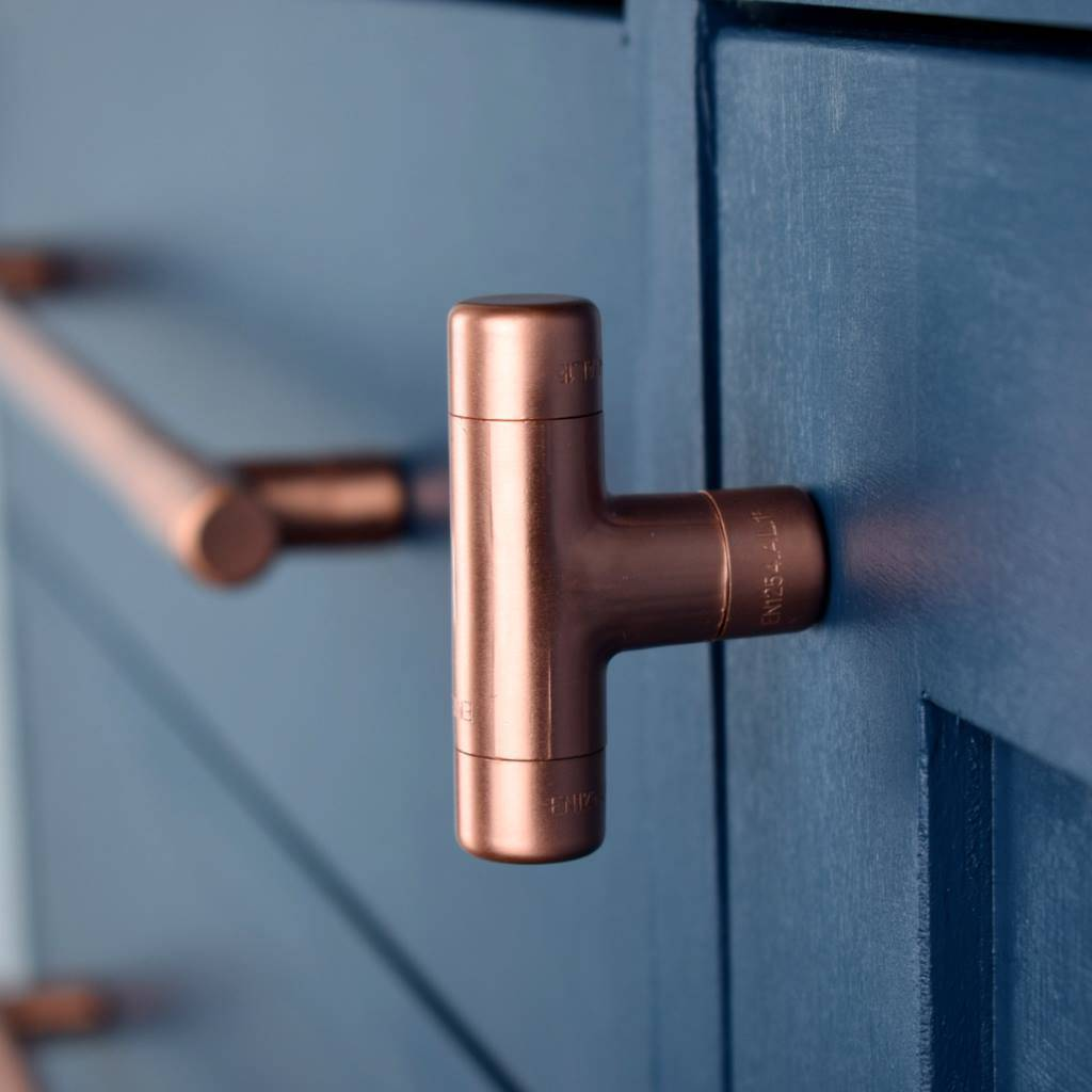 Copper t knob by proper copper design for Porte de cuisine inox
