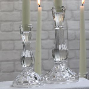 Elegant Clear Glass Candlestick - outdoor decorations