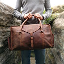 Distressed Personalised Leather Travel Bag In Wax