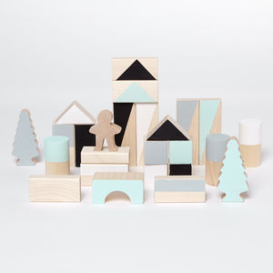 Monochrome And Mint Small Wooden Blocks - dreamland nursery