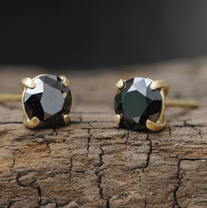 Black Diamond Gold Stud Earrings - earrings