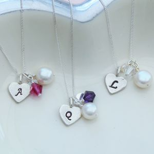 Bridesmaid's Silver Heart And Crystal Necklace - necklaces & pendants