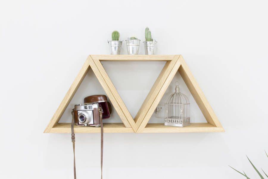 Triangle geometric shelves set of three wall shelves by bespoak interiors - Triangular bookshelf ...