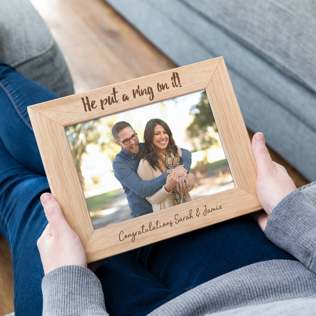 Personalised Engagement Anniversary Keepsake Gift Photo Wooden Picture Frame