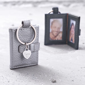 Personalised Textured Leather Photograph Book Keyring - womens