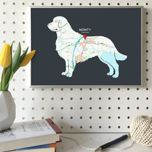 Personalised Map With Golden Retriever