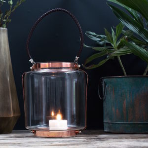 Copper And Glass Lantern With Leather Rope Handle