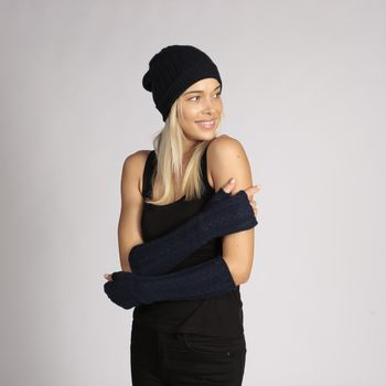 Cashmere Gloves Navy Blue Cashmere Wristwarmers